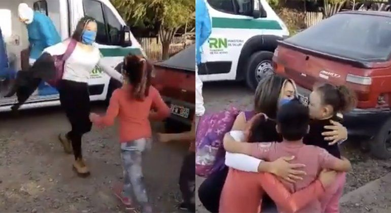 El emotivo regreso a casa de una paciente recuperada de coronavirus