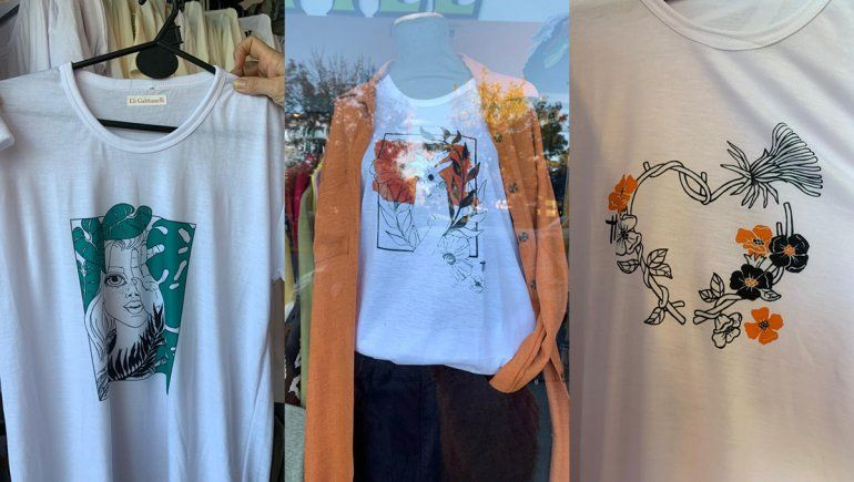 Los diseños de Cecilia en el local de ropa cipoleño que adquirió la mercadería en Avellaneda.
