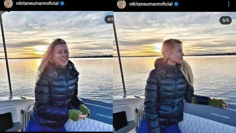 Nicole subió fotos navegando en Mari Menuco, pero sin Manu.