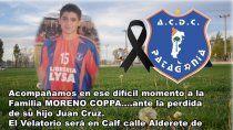 dolor en patagonia por la muerte de juancito, ex del club y tambien piloto