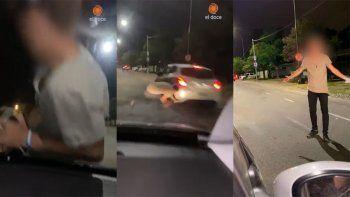 Indignante video: llevaban a su amigo en el capó del auto y casi es atropellado