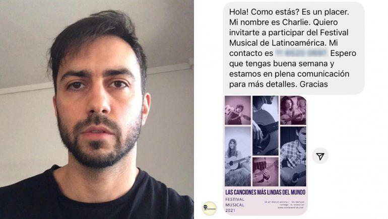 Un músico cipoleño denunció que fue estafado por una productora trucha